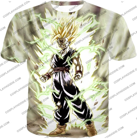 Image of Dragon Ball Super Favourite Fighter Gohan Saiyan 2 Awesome Action White T-Shirt Dbs061 / Us Xxs