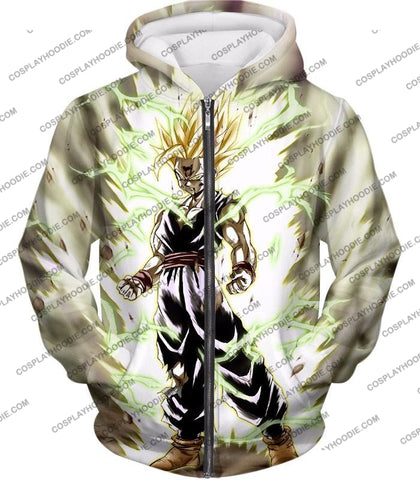 Image of Dragon Ball Super Favourite Fighter Gohan Saiyan 2 Awesome Action White T-Shirt Dbs061 Zip Up Hoodie