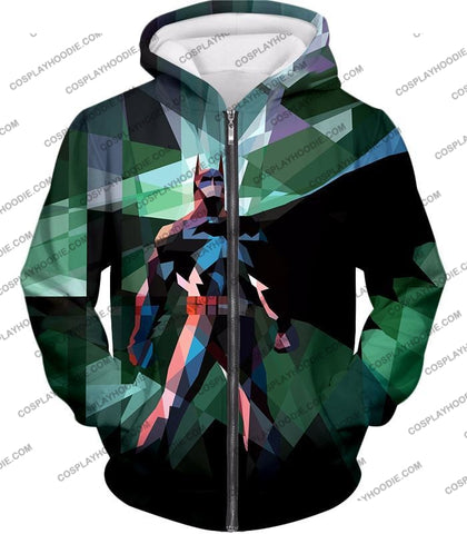 Image of Fighting For Justice Ultimate Batman Cool Spotlight Finish T-Shirt Bm061 Zip Up Hoodie / Us Xxs
