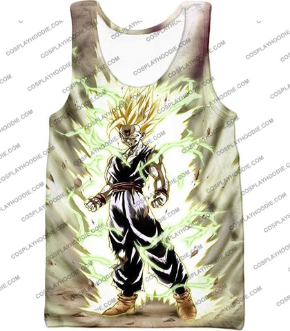 Image of Dragon Ball Super Favourite Fighter Gohan Saiyan 2 Awesome Action White T-Shirt Dbs061 Tank Top / Us