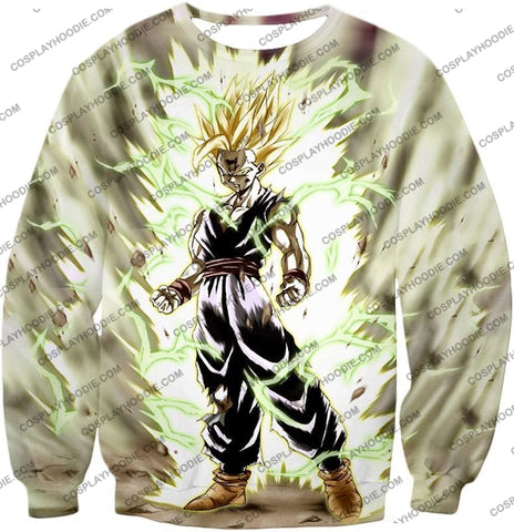Image of Dragon Ball Super Favourite Fighter Gohan Saiyan 2 Awesome Action White T-Shirt Dbs061 Sweatshirt /