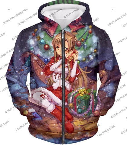 Image of Sword Art Online Yuuki Asuna Sao Promo Christmas Theme Cool Graphic T-Shirt Sao062 Zip Up Hoodie /