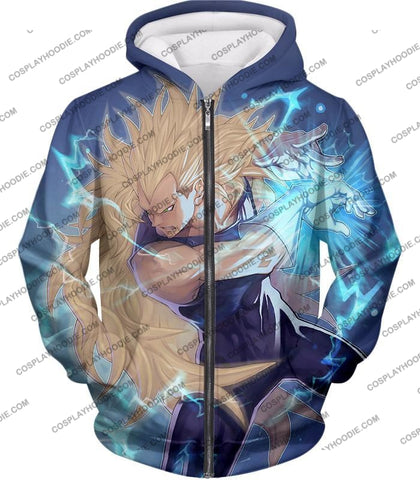 Image of Dragon Ball Super Cool Vegeta Saiyan 3 Awesome Graphic T-Shirt Dbs063 Zip Up Hoodie / Us Xxs (Asian