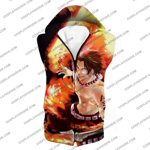 Image of One Piece Handsome Whitebeard Pirate 2Nd Division Commander Ace Action T-Shirt Op063 Hooded Tank Top