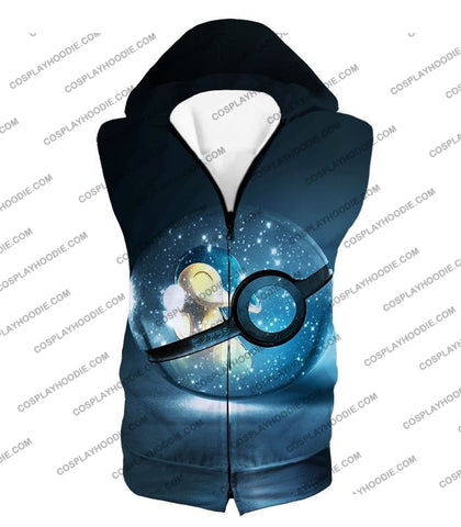 Image of Pokemon Super Cute Fire Cyndaquil Pokeball Cool Black T-Shirt Pkm063 Hooded Tank Top / Us Xxs (Asian