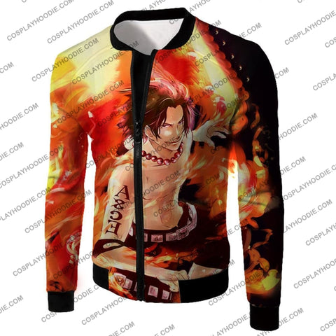 Image of One Piece Handsome Whitebeard Pirate 2Nd Division Commander Ace Action T-Shirt Op063 Jacket / Us Xxs