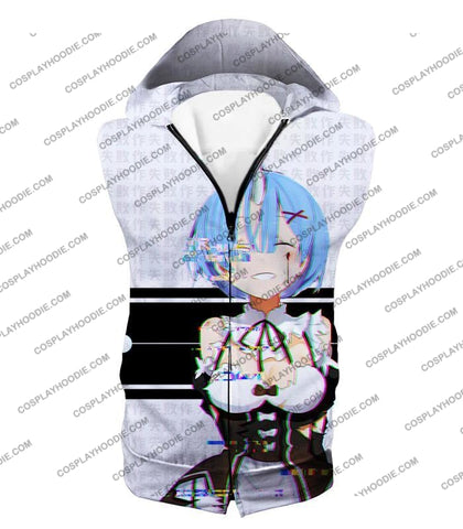 Image of Re:zero Oni Raced Maid Rem Glitch Print T-Shirt Re064 Hooded Tank Top / Us Xxs (Asian Xs)