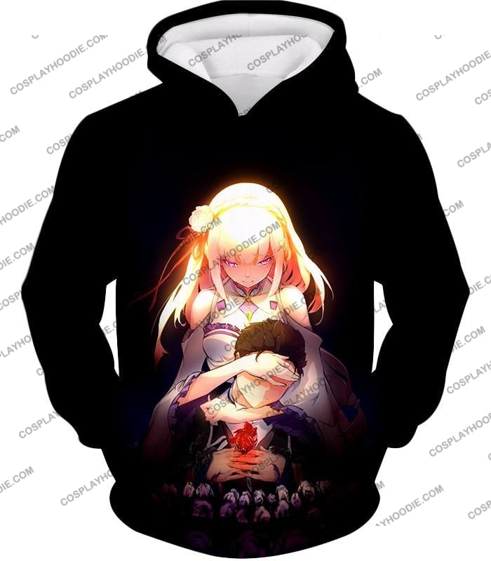 Re:zero Cute Couple Emilia And Subaru Cool Black T-Shirt Re065 Hoodie / Us Xxs (Asian Xs)