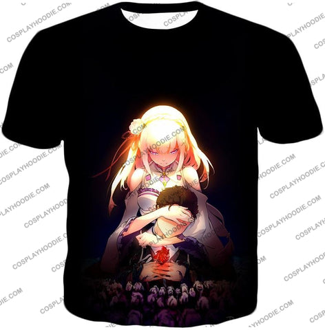 Image of Re:zero Cute Couple Emilia And Subaru Cool Black T-Shirt Re065 / Us Xxs (Asian Xs)