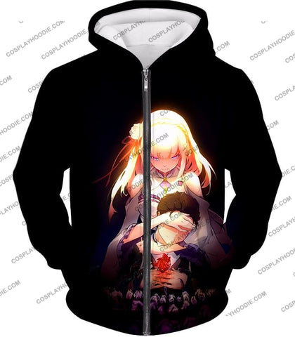 Image of Re:zero Cute Couple Emilia And Subaru Cool Black T-Shirt Re065 Zip Up Hoodie / Us Xxs (Asian Xs)
