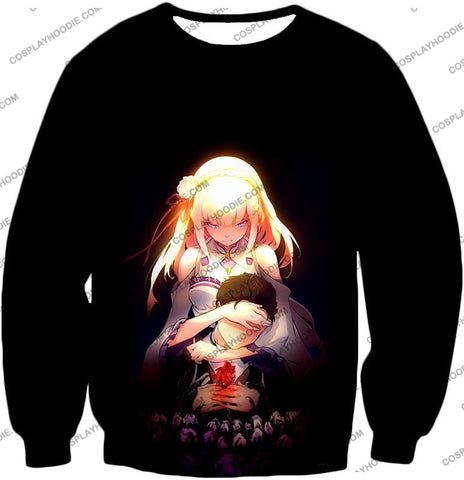 Image of Re:zero Cute Couple Emilia And Subaru Cool Black T-Shirt Re065 Sweatshirt / Us Xxs (Asian Xs)