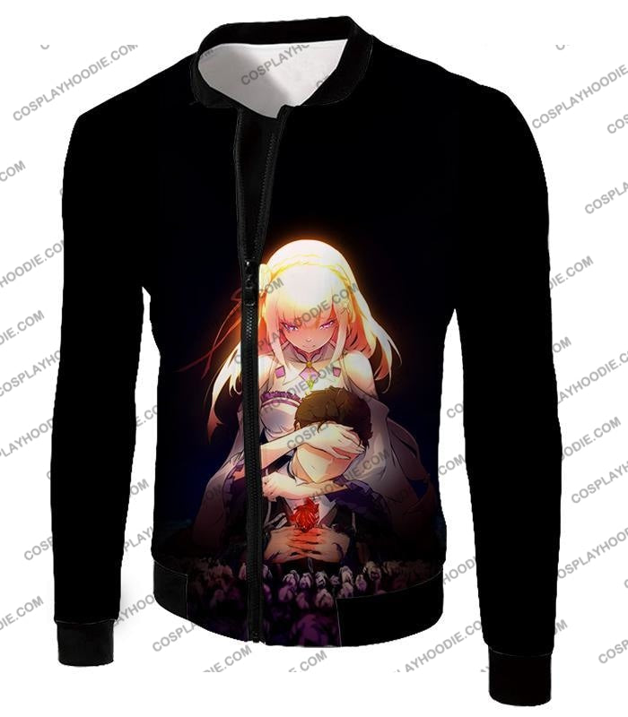 Re:zero Cute Couple Emilia And Subaru Cool Black T-Shirt Re065 Jacket / Us Xxs (Asian Xs)