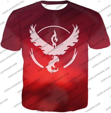 Image of Pokemon Legendary Fire Moltress Symbol Amazing Red T-Shirt Pkm066 / Us Xxs (Asian Xs)