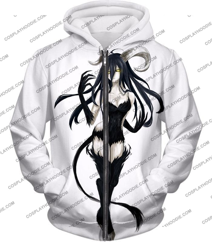 Overlord Super Cool Demon Albedo Awesome Fan Art Promo Anime White T-Shirt Ol066 Zip Up Hoodie / Us