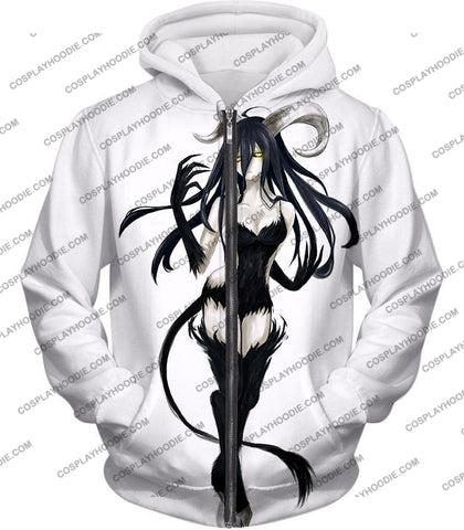 Image of Overlord Super Cool Demon Albedo Awesome Fan Art Promo Anime White T-Shirt Ol066 Zip Up Hoodie / Us