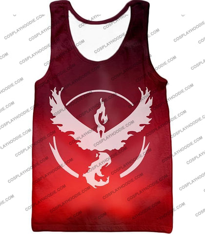 Image of Pokemon Legendary Fire Moltress Symbol Amazing Red T-Shirt Pkm066 Tank Top / Us Xxs (Asian Xs)
