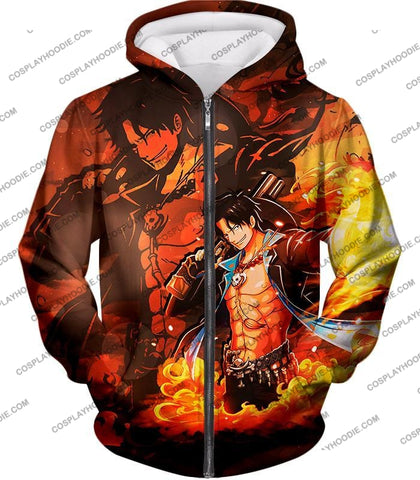 Image of One Piece Super Cool Whitebeard Pirate Commander Fire Fist Ace T-Shirt Op067 Zip Up Hoodie / Us Xxs