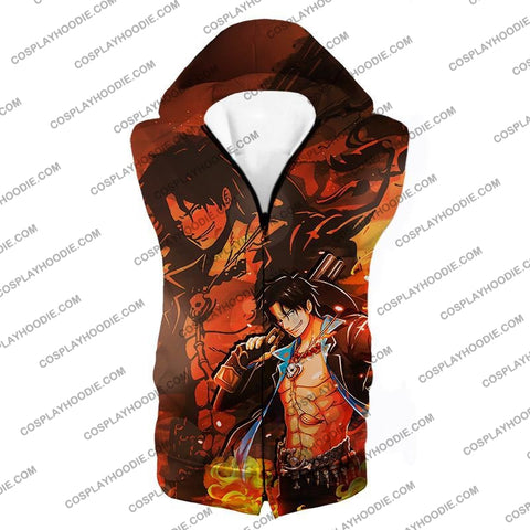 Image of One Piece Super Cool Whitebeard Pirate Commander Fire Fist Ace T-Shirt Op067 Hooded Tank Top / Us