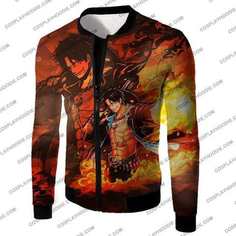 Image of One Piece Super Cool Whitebeard Pirate Commander Fire Fist Ace T-Shirt Op067 Jacket / Us Xxs (Asian
