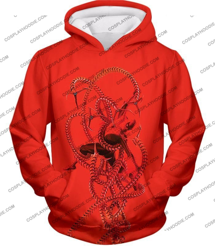 Spiderman In Octopus Claws Cool Red Action T-Shirt Sp068 Hoodie / Us Xxs (Asian Xs)
