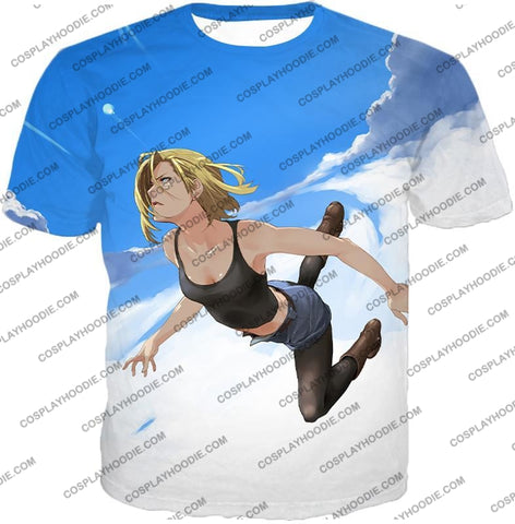Image of Dragon Ball Super Very Cute Android 18 Cool Graphic Action T-Shirt Dbs068 / Us Xxs (Asian Xs)