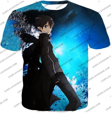 Image of Sword Art Online Kirito The Black Swordsman Sao Cool Anime Graphic Promo T-Shirt Sao068 / Us Xxs