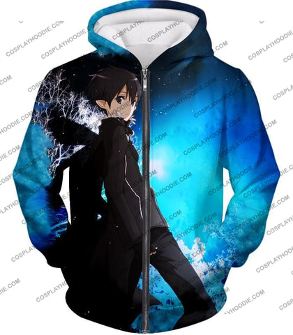 Image of Sword Art Online Kirito The Black Swordsman Sao Cool Anime Graphic Promo T-Shirt Sao068 Zip Up