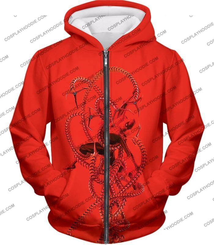Spiderman In Octopus Claws Cool Red Action T-Shirt Sp068 Zip Up Hoodie / Us Xxs (Asian Xs)