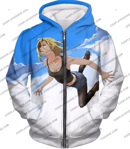 Image of Dragon Ball Super Very Cute Android 18 Cool Graphic Action T-Shirt Dbs068 Zip Up Hoodie / Us Xxs