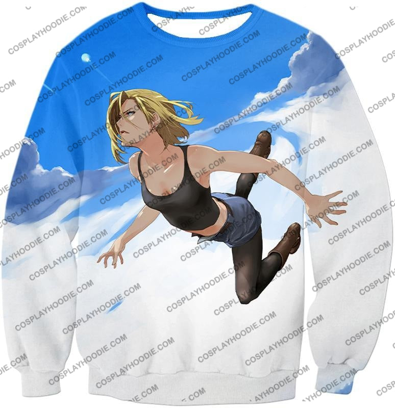 Dragon Ball Super Very Cute Android 18 Cool Graphic Action T-Shirt Dbs068 Sweatshirt / Us Xxs (Asian