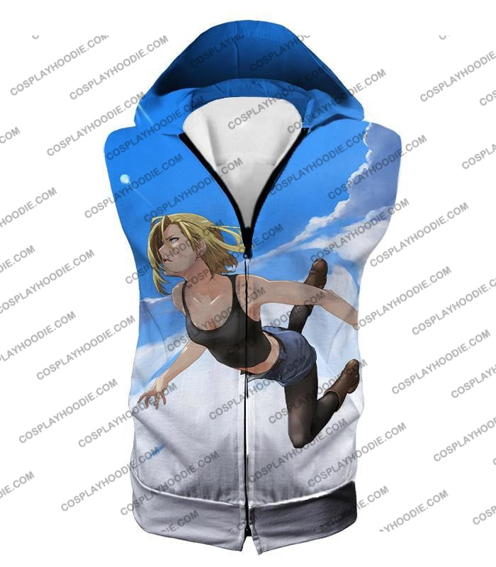 Dragon Ball Super Very Cute Android 18 Cool Graphic Action T-Shirt Dbs068 Hooded Tank Top / Us Xxs