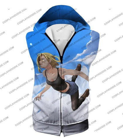 Image of Dragon Ball Super Very Cute Android 18 Cool Graphic Action T-Shirt Dbs068 Hooded Tank Top / Us Xxs