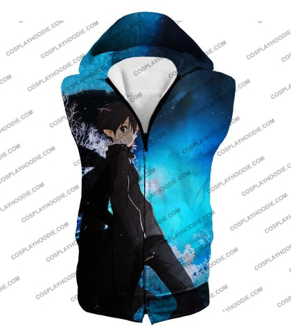 Image of Sword Art Online Kirito The Black Swordsman Sao Cool Anime Graphic Promo T-Shirt Sao068 Hooded Tank