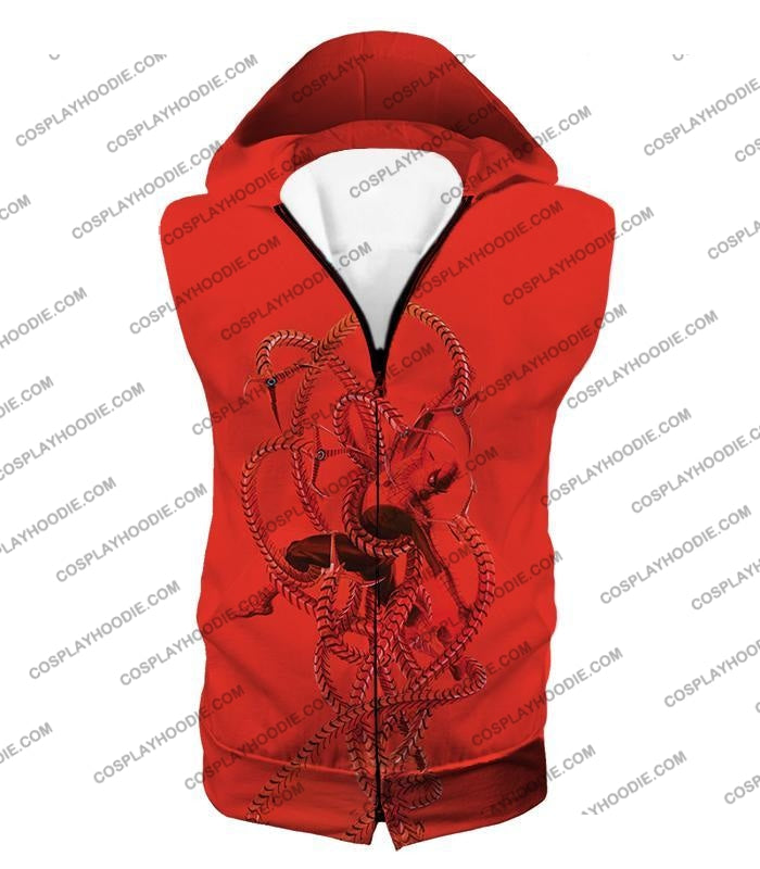 Spiderman In Octopus Claws Cool Red Action T-Shirt Sp068 Hooded Tank Top / Us Xxs (Asian Xs)
