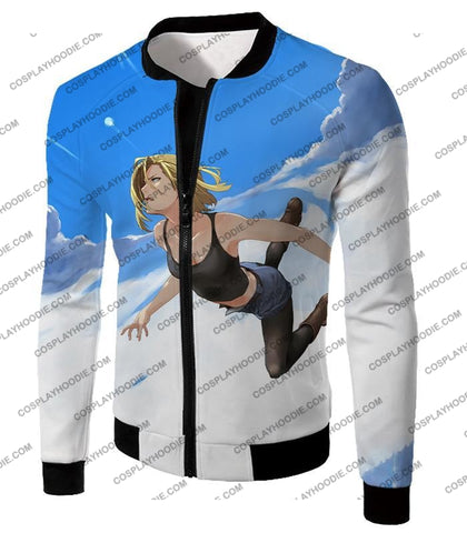 Image of Dragon Ball Super Very Cute Android 18 Cool Graphic Action T-Shirt Dbs068 Jacket / Us Xxs (Asian Xs)