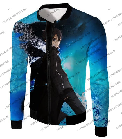 Image of Sword Art Online Kirito The Black Swordsman Sao Cool Anime Graphic Promo T-Shirt Sao068 Jacket / Us