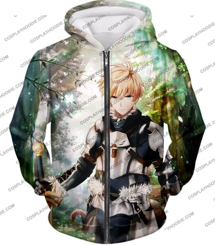 Image of Fate Stay Night Saber Class Male King Arthur Awesome T-Shirt Fsn069 Zip Up Hoodie / Us Xxs (Asian