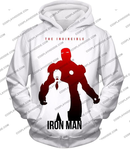 Image of Invincible Iron Man Promo Pure White T-Shirt Im007 Hoodie / Us Xxs (Asian Xs)