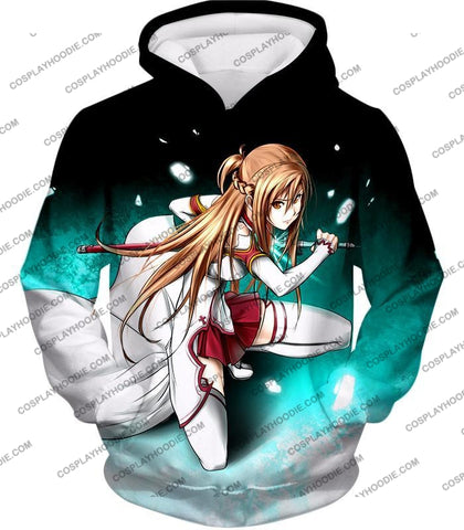 Image of Sword Art Online Super Swordsman Asuna Cool Action Anime Graphic T-Shirt Sao007 Hoodie / Us Xxs
