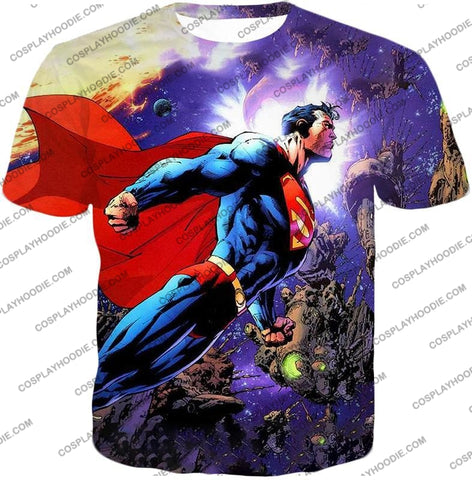 Image of Incredible Flying Superhero Superman The Animated Series Cool Promo T-Shirt Su007 / Us Xxs (Asian