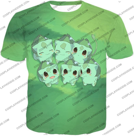 Image of Pokemon Cute Baby Bulbasaur Cool Graphic T-Shirt Pkm157 / Us Xxs (Asian Xs)