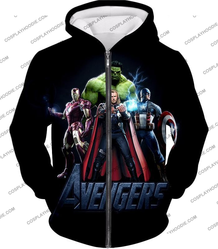 The Avengers Earths Mightiest Heroes Promo T-Shirt Ta007 Zip Up Hoodie / Us Xxs (Asian Xs)
