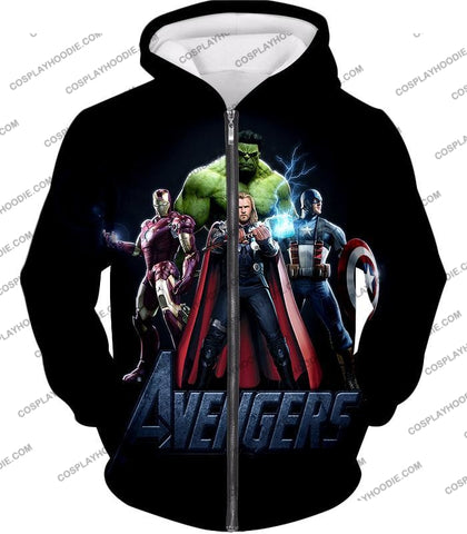 Image of The Avengers Earths Mightiest Heroes Promo T-Shirt Ta007 Zip Up Hoodie / Us Xxs (Asian Xs)