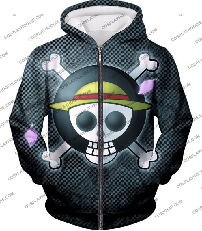 One Piece Super Cool Straw Hat Pirate Logo Promo T-Shirt Op007 Zip Up Hoodie / Us Xxs (Asian Xs)