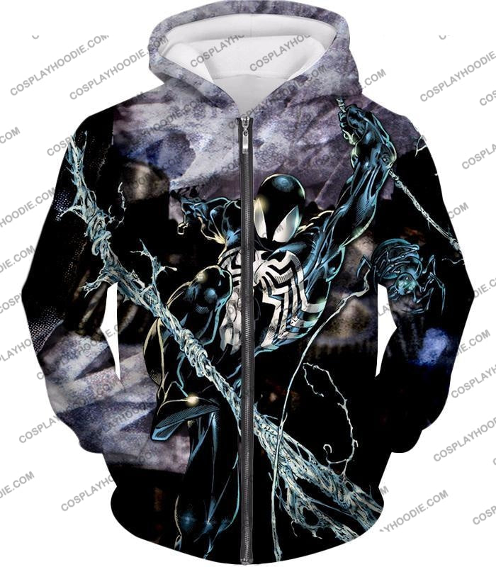 Incredible Animated Venom Cool Action T-Shirt Sp007 Zip Up Hoodie / Us Xxs (Asian Xs)