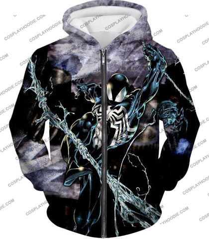 Image of Incredible Animated Venom Cool Action T-Shirt Sp007 Zip Up Hoodie / Us Xxs (Asian Xs)