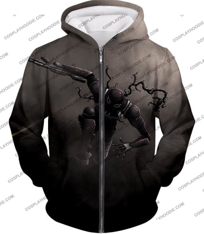 Alien Symbiote Life Venom Grey T-Shirt Ve007 Zip Up Hoodie / Us Xxs (Asian Xs)