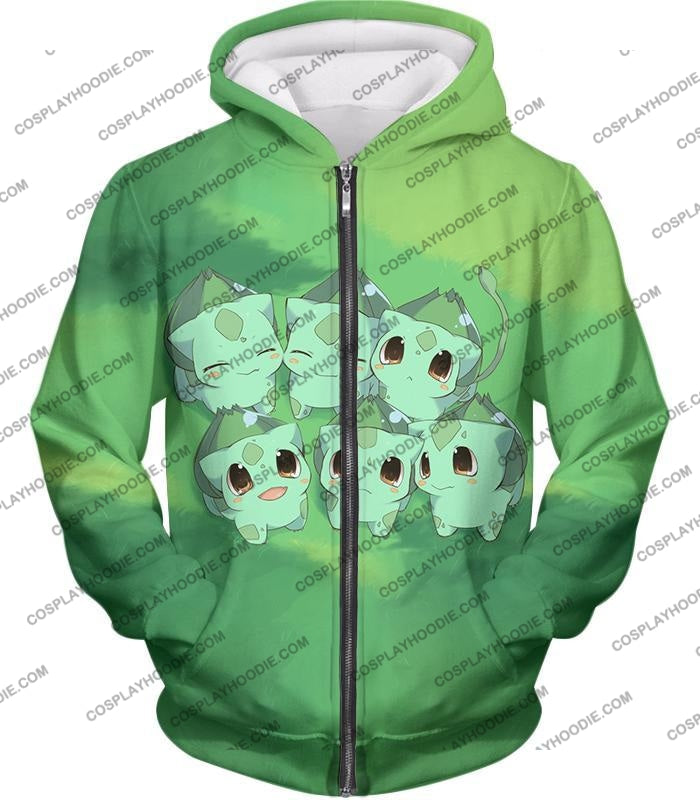 Pokemon Cute Baby Bulbasaur Cool Graphic T-Shirt Pkm157 Zip Up Hoodie / Us Xxs (Asian Xs)
