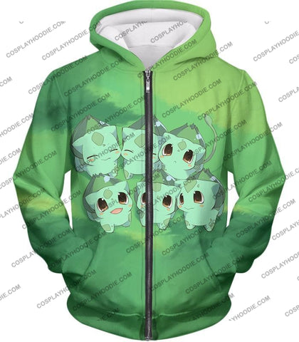 Image of Pokemon Cute Baby Bulbasaur Cool Graphic T-Shirt Pkm157 Zip Up Hoodie / Us Xxs (Asian Xs)