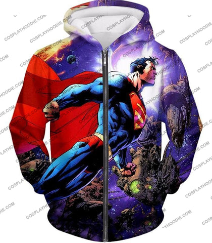 Image of Incredible Flying Superhero Superman The Animated Series Cool Promo T-Shirt Su007 Zip Up Hoodie / Us